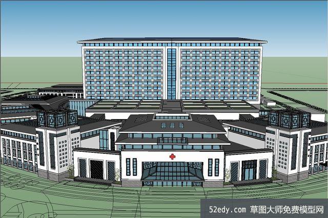 欧式雨棚模型下载_中式医院建筑SU模型_su模型下载 草图大师模型_SKP模型