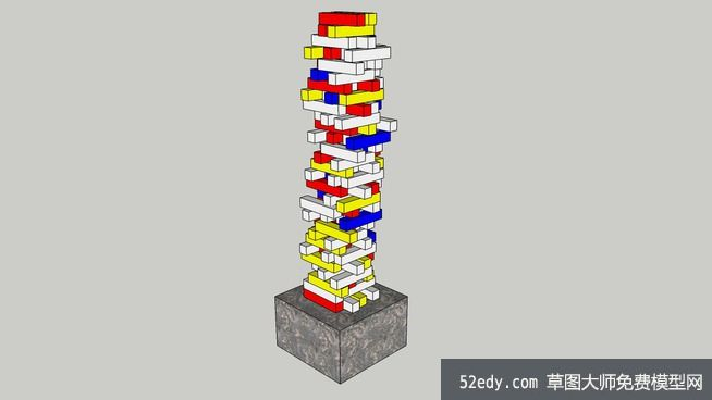 积木雕塑的-草图大师模型下载-草图大师网