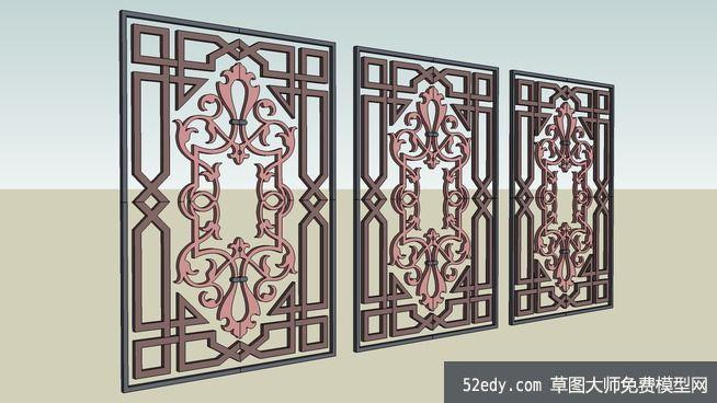 欧式花窗图案su模型_su模型下载