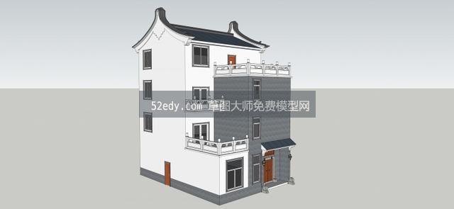 4层新中式农村别墅自建房模型